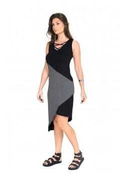 Vestido Curto Assimétrico Preto/Cinza