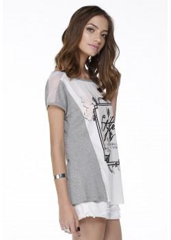 Blusa Manga Curta Branca e Mescla